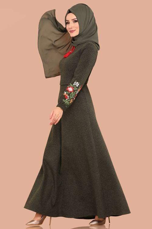 Modaselvim 59 Tl Nakisli Kislik Elbise 5389mp186 Haki Dresses Fashion Nun Dress
