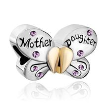 Fit Pandora pulseras encanto de madre e hija Separable mariposa Charm Light purple Crystal Heart Love(China (Mainland))