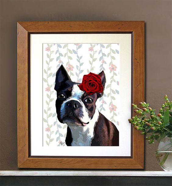 Boston Terrier Rose on Head boston terrier print by LoopyLolly