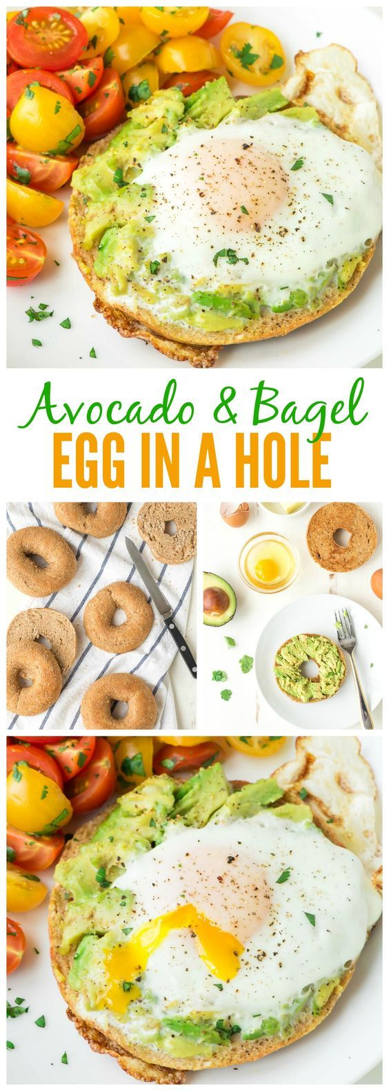 Egg in a Hole, cooked inside a bagel with smashed avocado on top. Our family's favorite breakfast, and it's perfect for easy, healthy lunches and dinners too! Recipe at www.wellplated.com   @wellplated