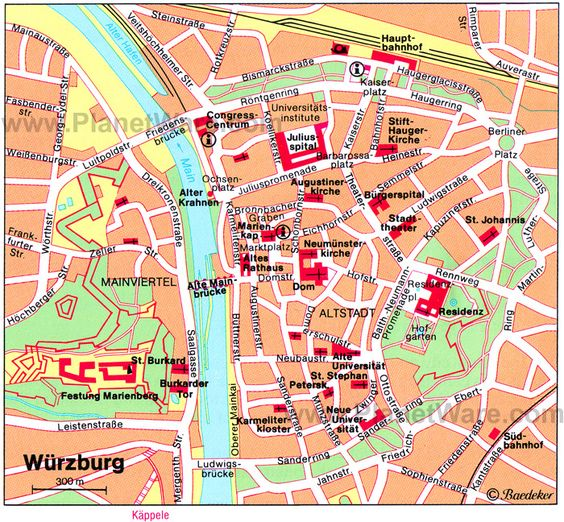 Map of Wurzburg with points of interest