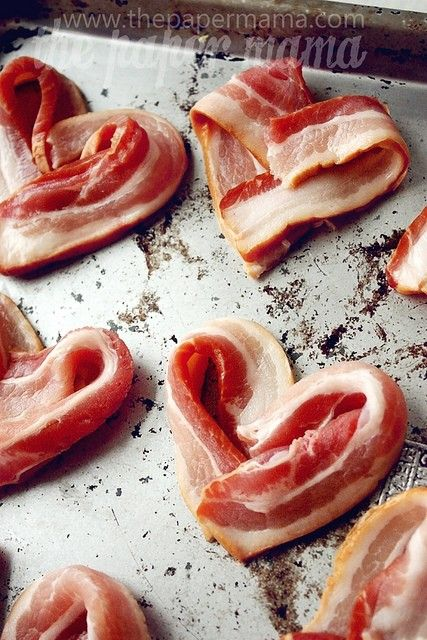 HIT: Heart-shaped bacon.  I used thin instead of thick-sliced and weighted each heart down with a heavy pan on my griddle as the bacon cooked.  Came out great!