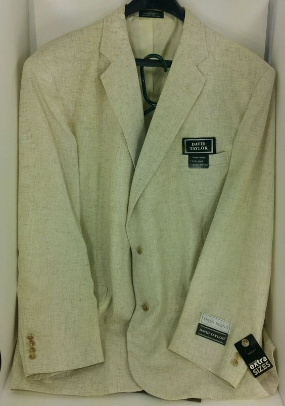 52 Long David Taylor Tan Linen Blend Blazer Sport Coat Jacket Suit ...