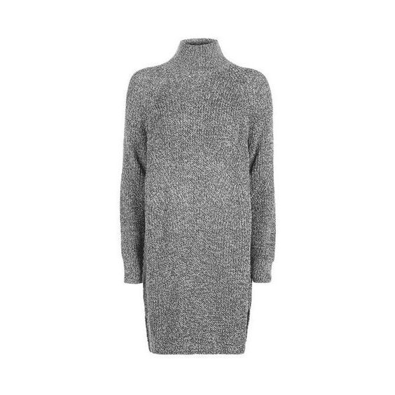 TopShop Rib Grunge Funnel Jumper Dress ($51) ❤ liked on Polyvore featuring dresses, charcoal, layered dress, charcoal dress, grunge dress, charcoal gray dress and topshop dresses