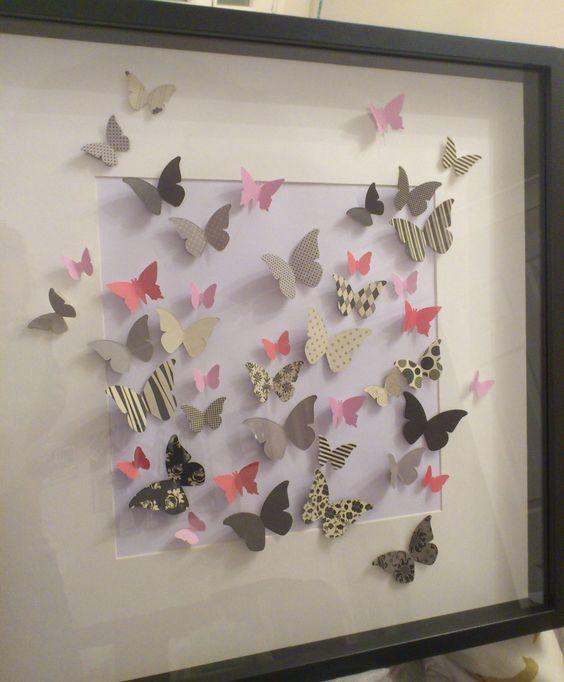 Cuadros marcos pinterest papel en 3d dise o y arte for Diseno de paredes con cuadros