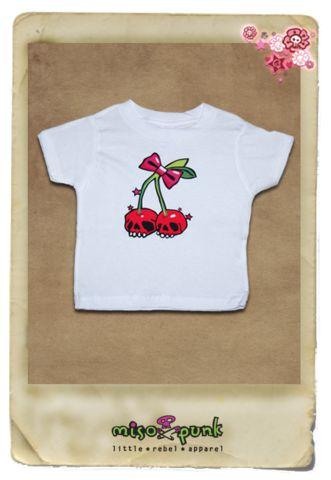 Cherry Skulls White Tee | MisoPunk.com