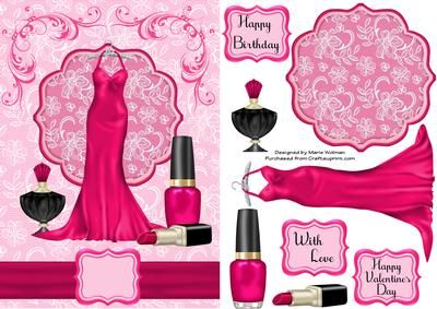 Hot Pink on Craftsuprint designed by Marie Wolman - This is an easy step by step decoupage sheet featuring a beautiful pink dress with matching nail polish and other accessories all placed on a laced background.Sentiments are included with one blank so you can add your own choice of words. Though this is in the Valentine's category it can be used for any occasion. - Now available for download!