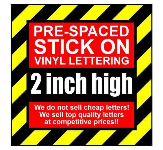 Details About 10 Characters 2 Inch 50mm High Pre Spaced Stick On Vinyl Letters Numbers Vinyl Lettering