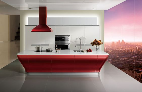 Red Lacquer Kitchen Cabinet Model:OP12-L062