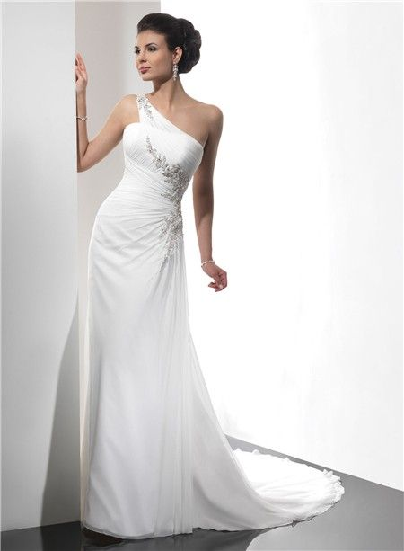 One Shoulder Summer Beach Chiffon Wedding Dress With Straps Beading