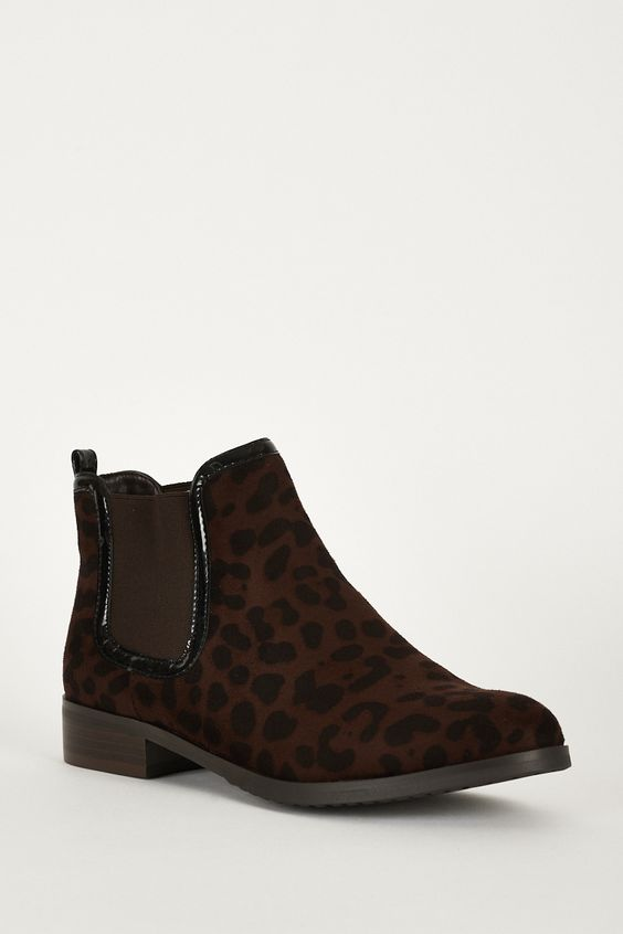 Lovely Faux Suedette Chelsea Boots With Animal Print 	 £10.99