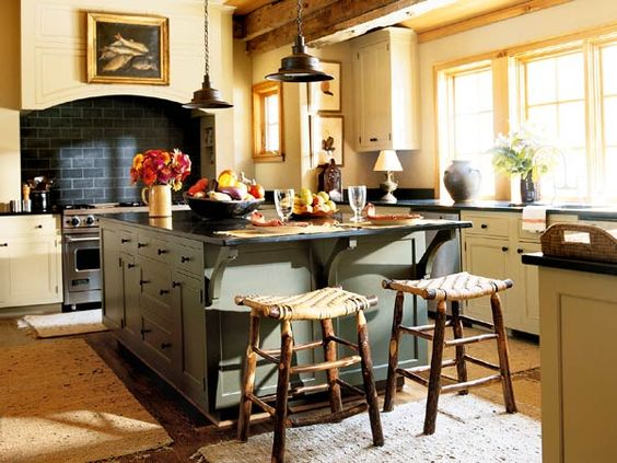 green kitchen islands a sturdy green island contrasts with warm ivory 1416