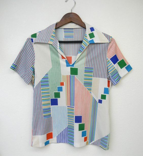 Vintage Shirt 70s 80s Abstract Graphic Print by PinkCheetahVintage, $24.00