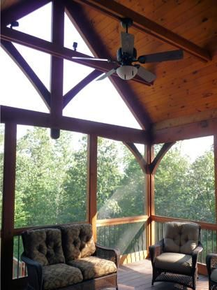 Screened porches porches and timber frames on pinterest for Timber frame screened porch