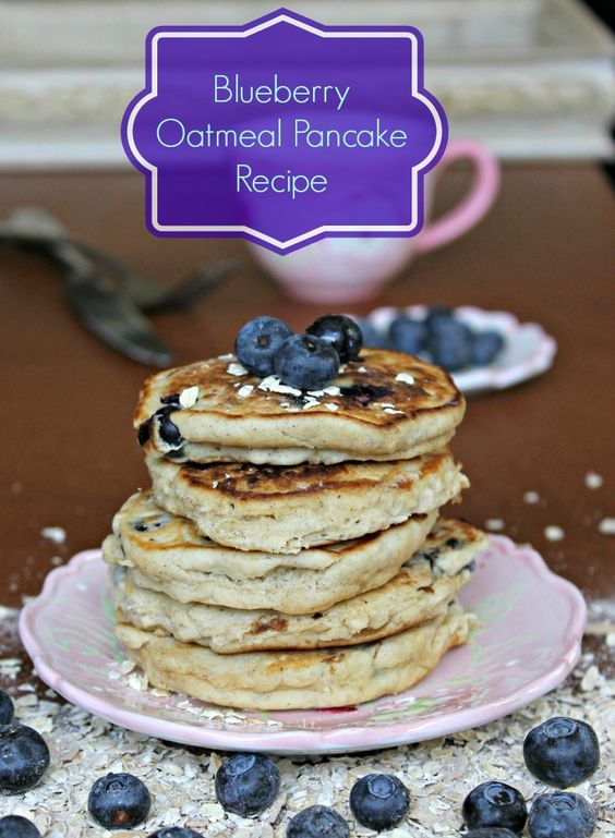 Blueberry oatmeal pancakes. Use old fashioned oats, replace buttermilk ...