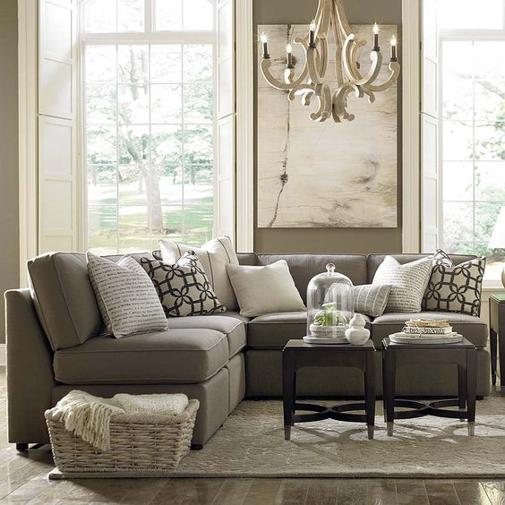l shaped sectional in mushroom townhouse living room