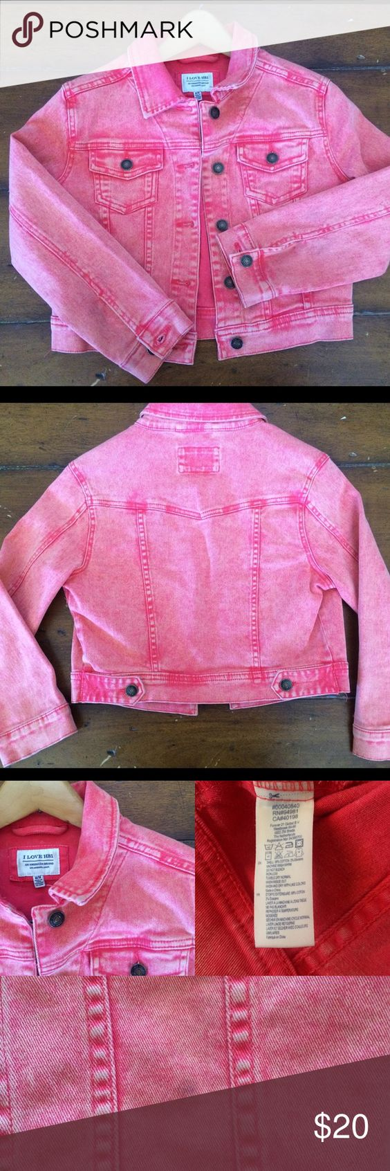 Forever 21 denim jacket Coral colored denim jacket! So cute for spring or summer! Light weight and comfortable 😊🐝 98% cotton 2% elastic NOTE: there is a small black stain on right side of jacket refer to last picture. Heritage 1981 Jackets & Coats Jean Jackets