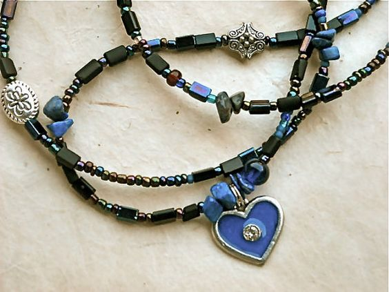 Lapis Lazuli Blue Heart Waist Beads by WrapandSoul on Etsy, $15.00