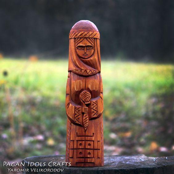 Mokosh - Slavic Goddess. Goddess of fate. Helps your fate.  Art Wood Carving Hand Made Decor. Pagan goddess.