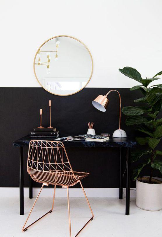 Décor contemporânea: preto, branco e ouro rose. Tendência!