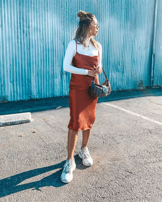 Satin slip dress with turtleneck and Ash addict sneakers