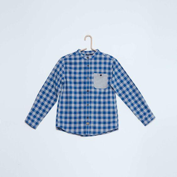 Chemise à carreaux col mao Garçon - Kiabi - 10,00€