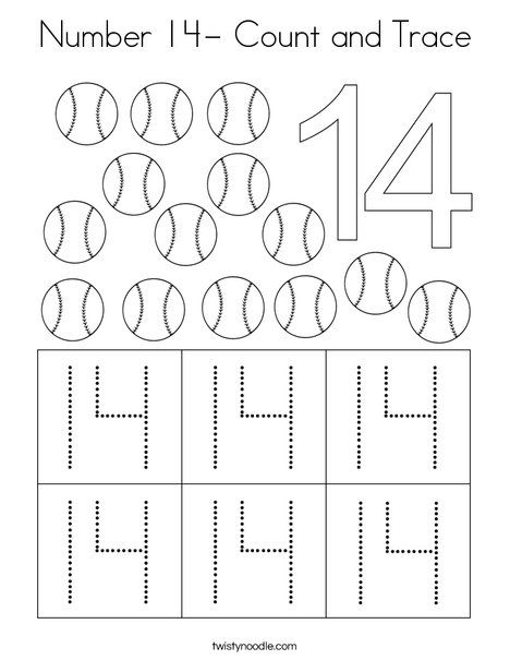 Number 14 Count And Trace Coloring Page Twisty Noodle Preschool Math Numbers Numbers Preschool Preschool Number Worksheets Number 14 worksheets for kindergarten