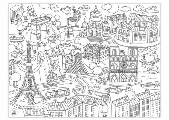 coloriages omy posters g ants de paris de ny ou du monde colorier en groupe classe lili. Black Bedroom Furniture Sets. Home Design Ideas
