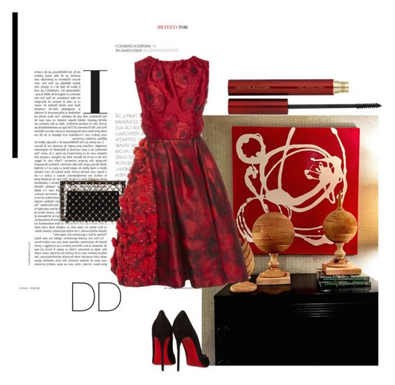 """""""Lady in Red"""" by divadebbi ❤ liked on Polyvore featuring Bunny Williams Home, Charlotte Olympia, Oscar de la Renta, Kevyn Aucoin and Christian Louboutin"""