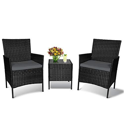 Patio Furniture Set 3 Piece Outdoor Furniture Balcony Patio Set Rattan Wicker Chairs With Cof In 2021 Garden Furniture Sets Patio Furniture Sets Outdoor Furniture Sets