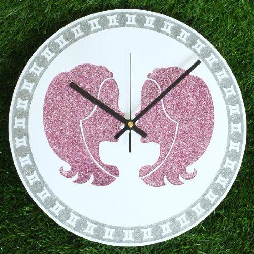 "Zodiac Sign GEMINI Wall Clock DIA 12"" Inch Silver and Pink Glitter Colour: Black Clock Hands"