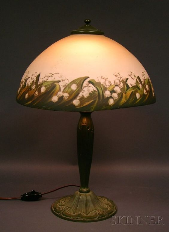 Lily of the Valley Decorated Table Lamp, Patinated Bronze and Glass - Early 20th century