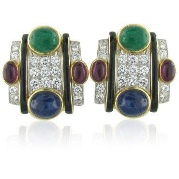 David Webb 18k Gold Platinum Gemstone Diamond Earrings