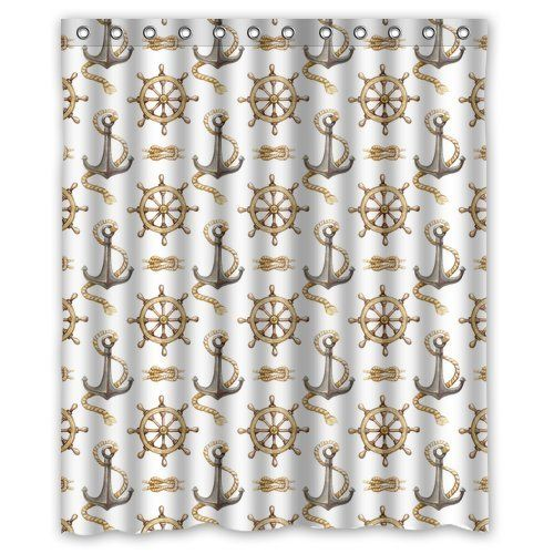 "Nautical Anchor Waterproof Polyester Fabric Bathroom Shower Curtain for Home/Travel with Hooks 60""(w) x 72""(h) Qearl http://www.amazon.com/dp/B00N3HQZLU/ref=cm_sw_r_pi_dp_S6hGvb0DV18QT"