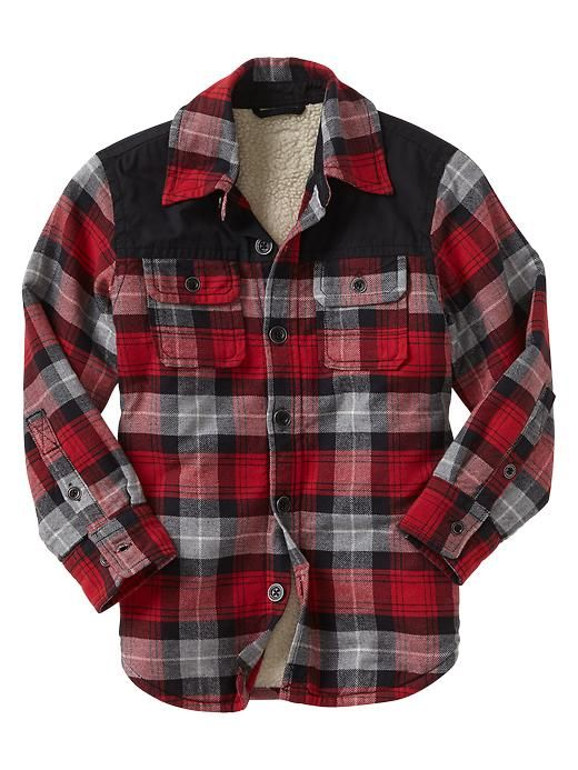 Boys - Sherpa-lined flannel shirt jacket - Gap | Rustic Holiday