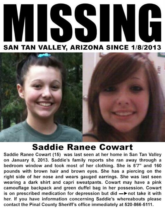 Missing 15 Year Old Girl Found: Saddie Cowart, 15, Missing Since 1/8/2013 From