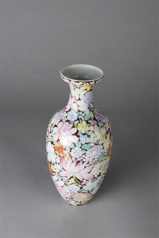 19th C. Chinese 1000 Flower Porcelain Vase