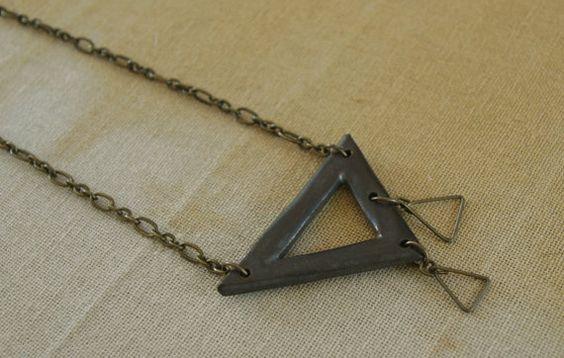 Pierced Triangle Pendant Necklace