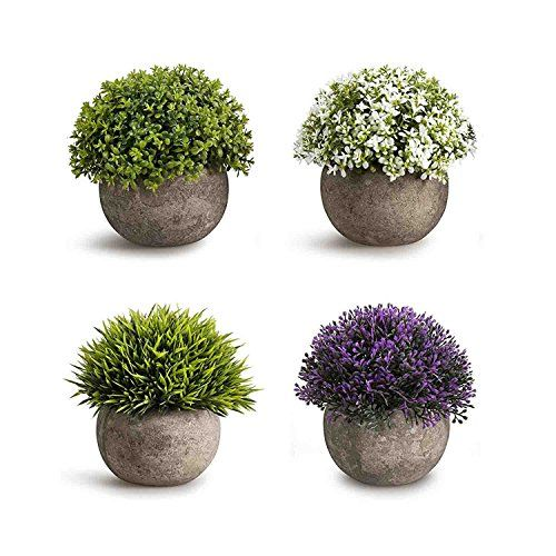 Awesome Dimensions Diameter 4 3 In Height 4 7 In From Plant Top To Pot Base Set Of 4 2 Green 1 White An Mini Plants Bathroom Plants Fake Plants Decor