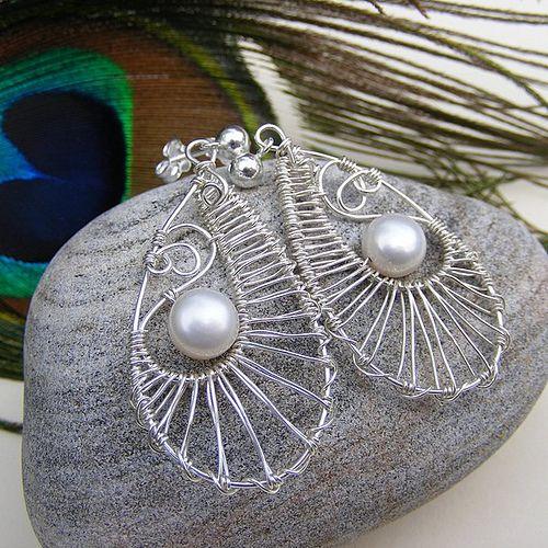 Grey Peacock Feather earrings