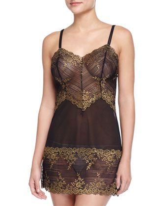 Embrace+Lace+Chemise,+Black/Gold+by+Wacoal+at+Neiman+Marcus.