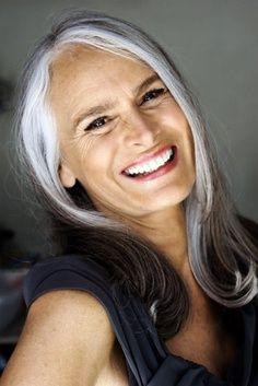 Love the gray streak in her hair.: