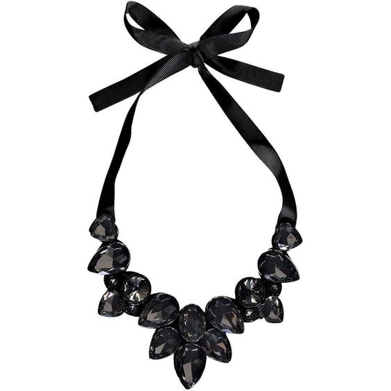Boohoo kia ribbon tie statement necklace 8 liked on for Ribbon tie necklace jewelry