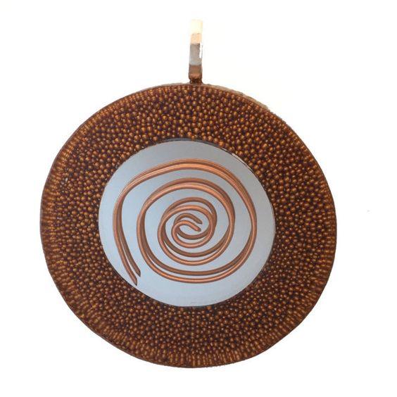 Orgone, Orgonite Pendant, Orgonite necklace, Mirror, Copper Spiral, Micro Copper Beads, Orgone Generator Pendant, 1 inch Round, Silver Bail by AttunementShop on Etsy