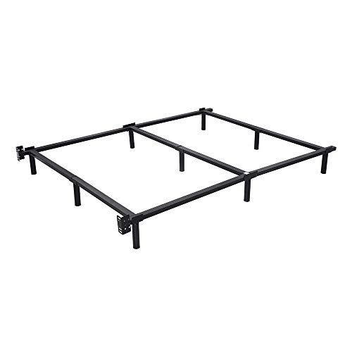 Thaweesuk Shop Black Full Size Heavy Duty Black Folding Steel Bed Box Spring Frame Center Bar Support Steel Plastic Steel Bed Frame Folding Bed Frame Steel Bed