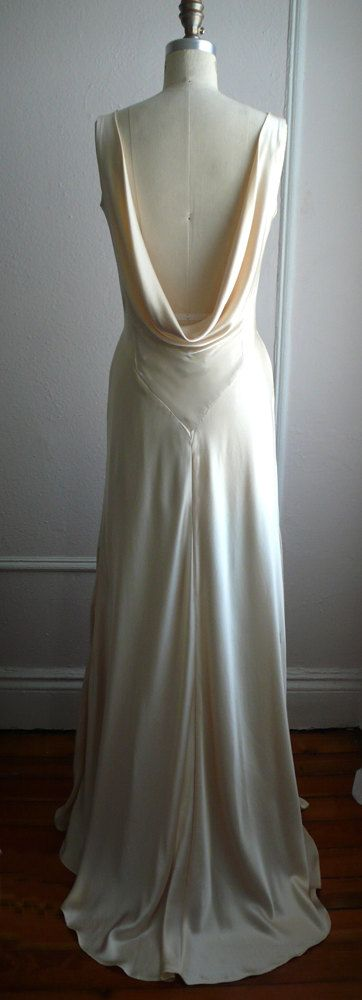 """1930s Draped V Neck Art Deco bias cut silk charmeuse retro wedding gown, Champagne, """"Mila"""" gown, Low back, backless, customizable. $1,328.00, via Etsy."""