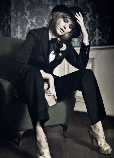 Hot And Edgy White Collared Shirt Black Ribbon Bow Tie Suit Trousers Black Blazer Heels In