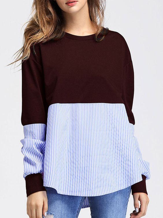 Round Neck Patchwork Plain Long Sleeve T Shirt