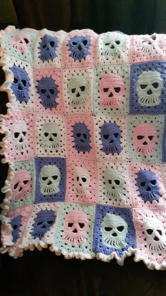 Skull granny square blanket                                                                                                                                                     More