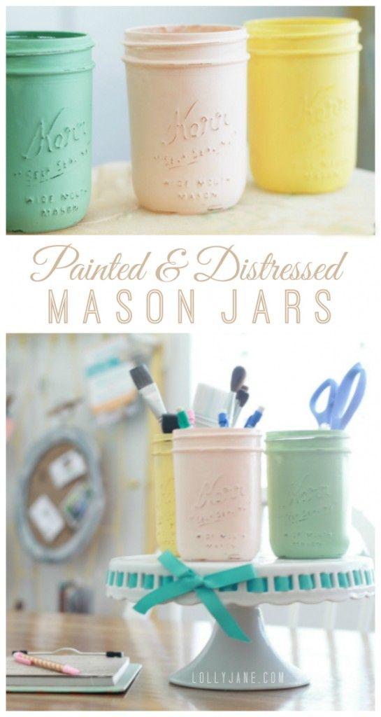 Painted and distressed mason jar tutorial via lollyjane.com: Blue Mason Jars, Diy Crafts, Painting Mason Jar, Mason Jar Crafts, Distressed Mason Jars, Crafts Diy, Craft Room Storage, Craft Rooms